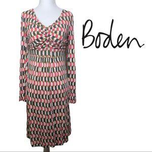 Boden Long Sleeve Geometric Knit Dress